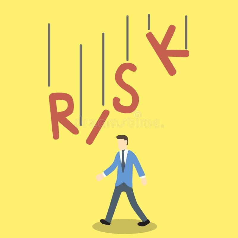 L'illustration conceptuelle de l'homme d'affaires en danger par le mot de RISQUE tombe sur son corps illustration libre de droits