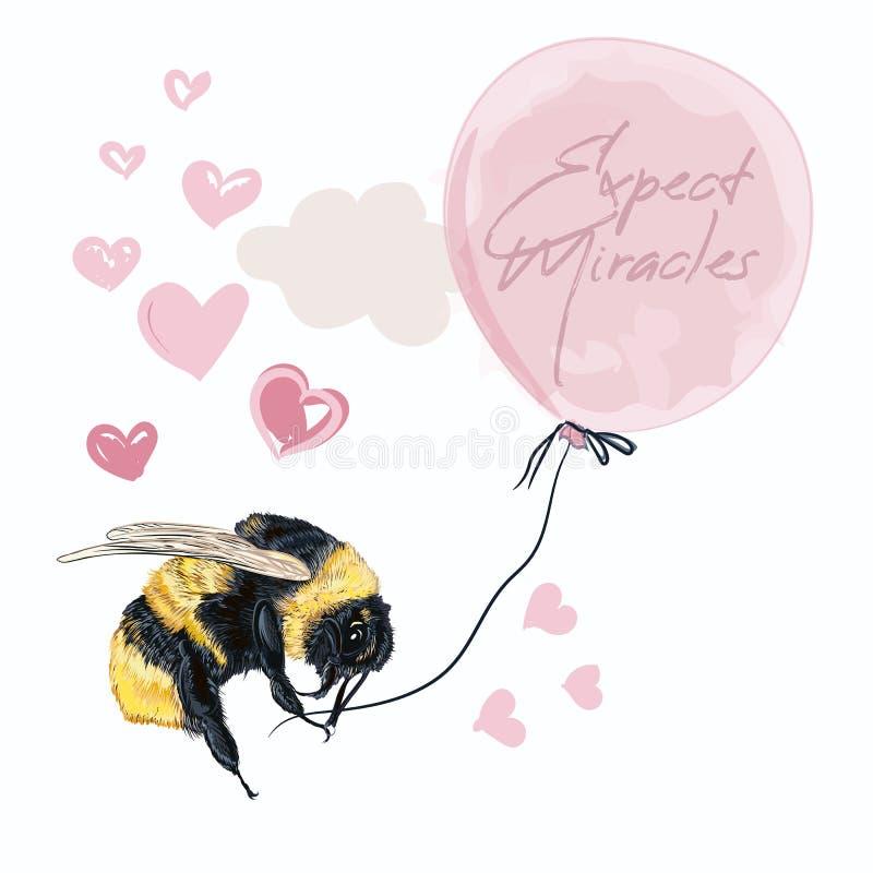 L'illustration conceptuelle de mode avec le bourdon tenant le ballon rose, s'attendent à l'idéal de miracle pour la carte, saluan illustration stock