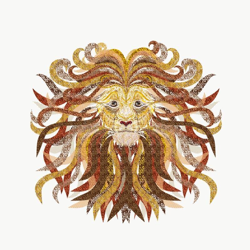 L'illustration créative de l'des lions se dirigent, les lignes douces peintes, WI illustration libre de droits