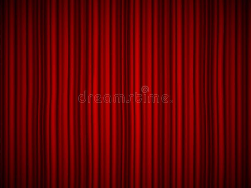 L'illustration créative de vecteur de l'étape avec le velours en soie rouge d'écarlate de luxe drape et les rideaux en tissu d'is illustration libre de droits