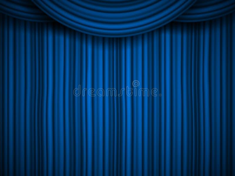 L'illustration créative de vecteur de l'étape avec le velours en soie rouge d'écarlate de luxe drape et les rideaux en tissu d'is illustration de vecteur