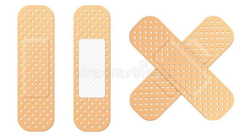 L'illustration créative de vecteur des plâtres médicaux élastiques de bandage adhésif a placé d'isolement sur le fond transparent illustration de vecteur