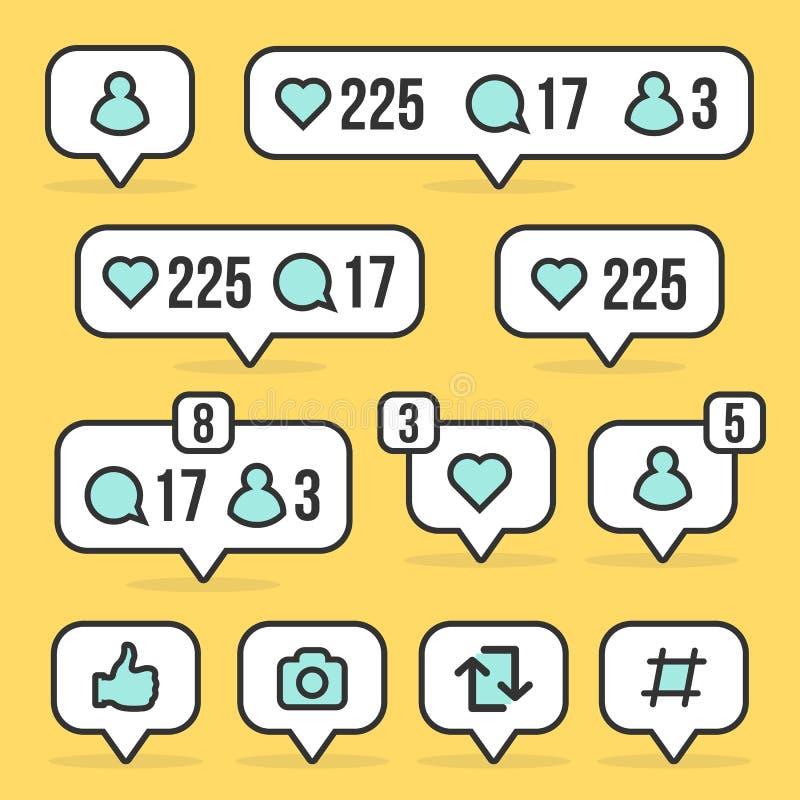 L'illustration créative de vecteur du media social signent comme, disciple, commentaire d'isolement sur le fond Avis de bulle de  illustration de vecteur