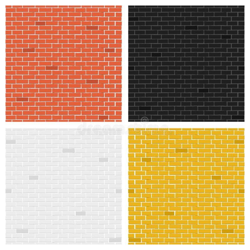 L'illustration créative de vecteur de la brique de couleur donne à la collection une consistance rugueuse Collection de mur de co illustration de vecteur