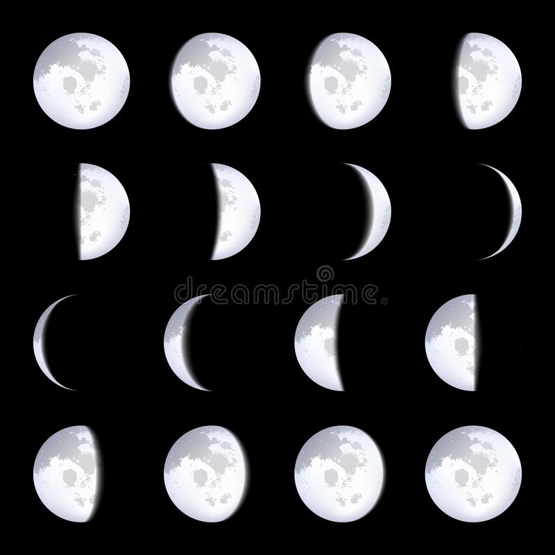 L'illustration créative de vecteur de la lune réaliste met des plans en phase d'isolement sur le fond transparent Calendrier luna illustration de vecteur
