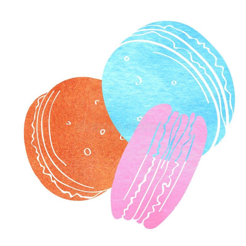 Download L'illustration Dépeignant Trois Gâteaux A Rendu Aquarelle La Silhouette Bleue Les Fleurs Roses Et Rouges Inscription De Dessert W Illustration Stock - Illustration du dessert, nourriture: 76086679