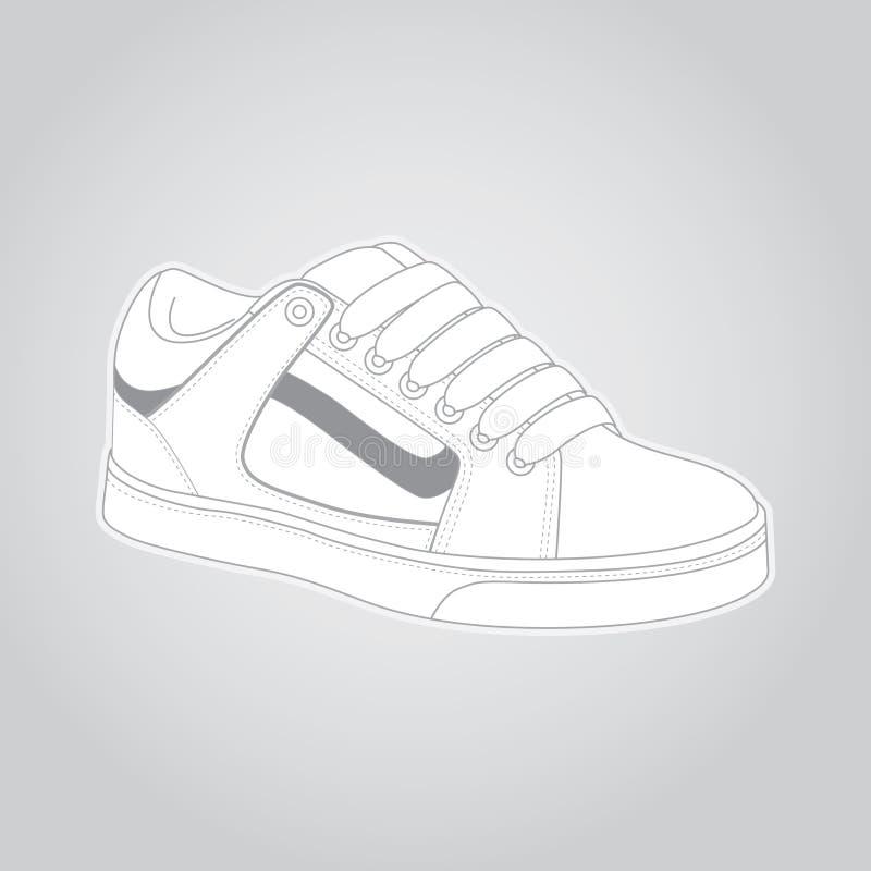 L'illustration détaillée au sujet d'une patin-chaussure blanche, est photo stock