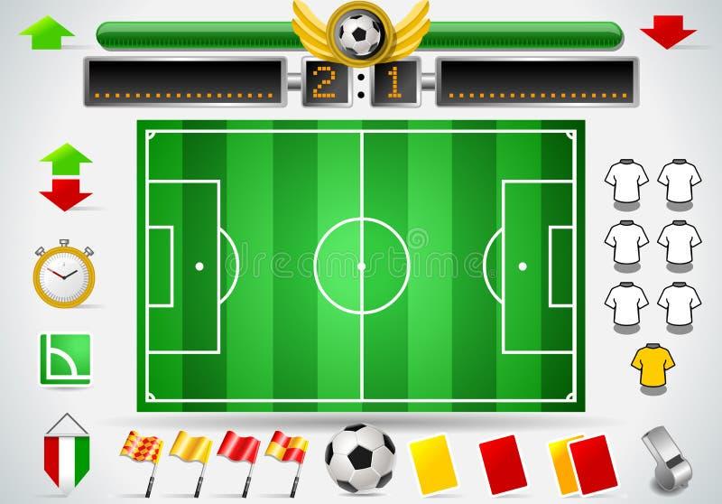 Ensemble de graphique d'information de terrain de football et d'icônes illustration stock