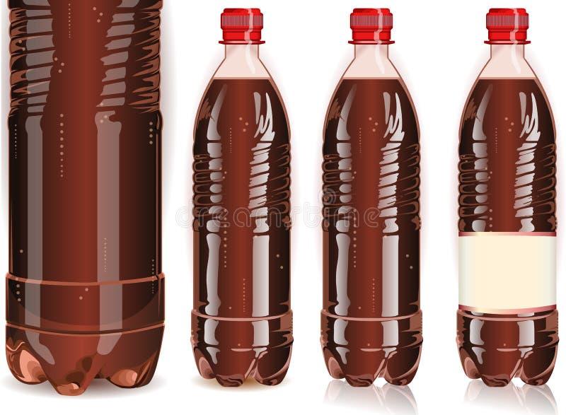 Quatre bouteilles en plastique de kola avec des labels illustration libre de droits