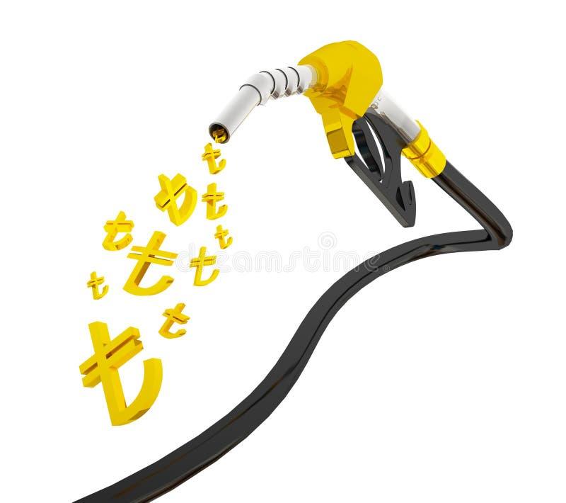 l'illustration 3D, équipent l'essence d'un gicleur de pompage dans un réservoir, d'essence se renversante de gicleur d'essence au illustration de vecteur