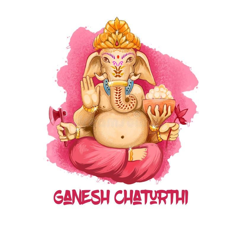 L'illustration d'art de Digital de Lord Ganesh Chaturthi a isolé sur le blanc Festival indou de Vinayaka Chaturthi pour adorer hg illustration de vecteur