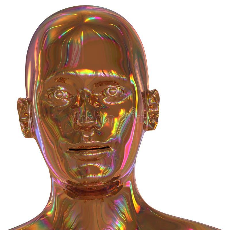 l'illustration 3d de l'homme de tête de fer a stylisé d'or de portrait poli illustration libre de droits