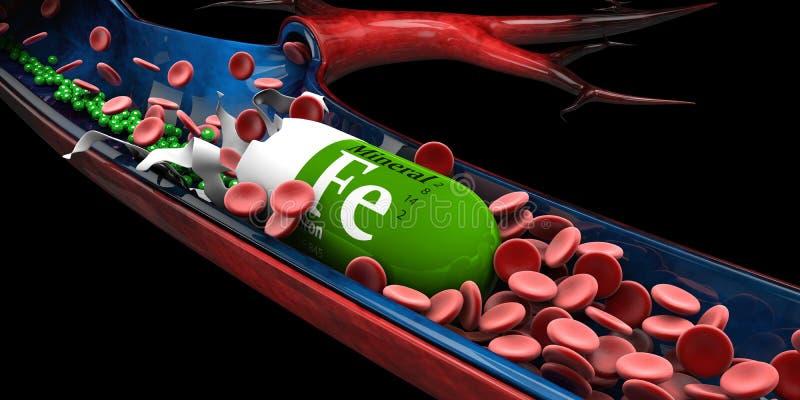 l'illustration 3d de la capsule minérale de fer se dissout dans vien illustration de vecteur