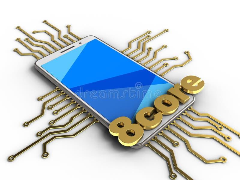l'illustration 3d du téléphone blanc au-dessus du fond blanc avec le circuit électronique et 8 creusent le signe illustration libre de droits