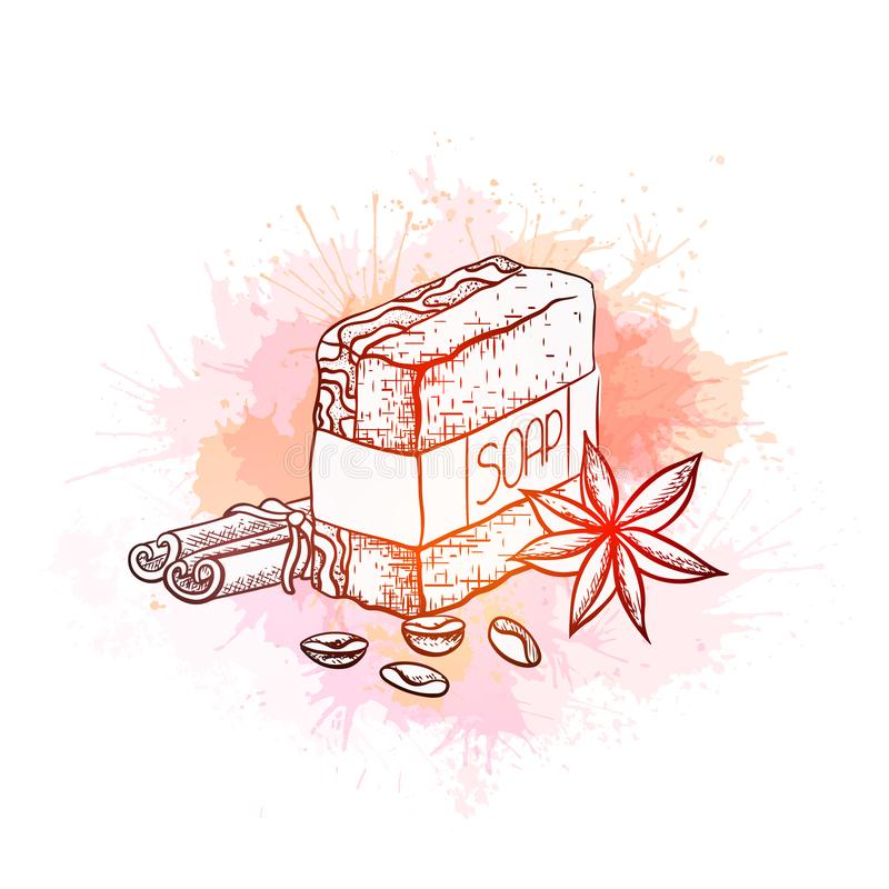 L'illustration d'ensemble de vecteur du savon fait main avec des bâtons de cannelle, des graines de café et l'anis d'étoile sur l illustration stock