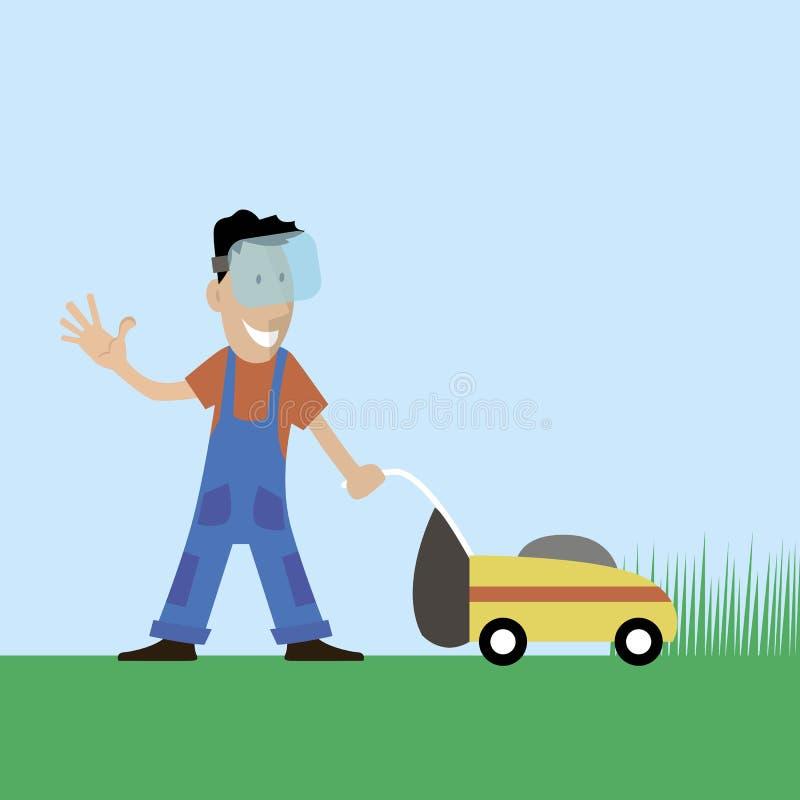 L'illustration d'homme de tondeuse à gazon illustration libre de droits