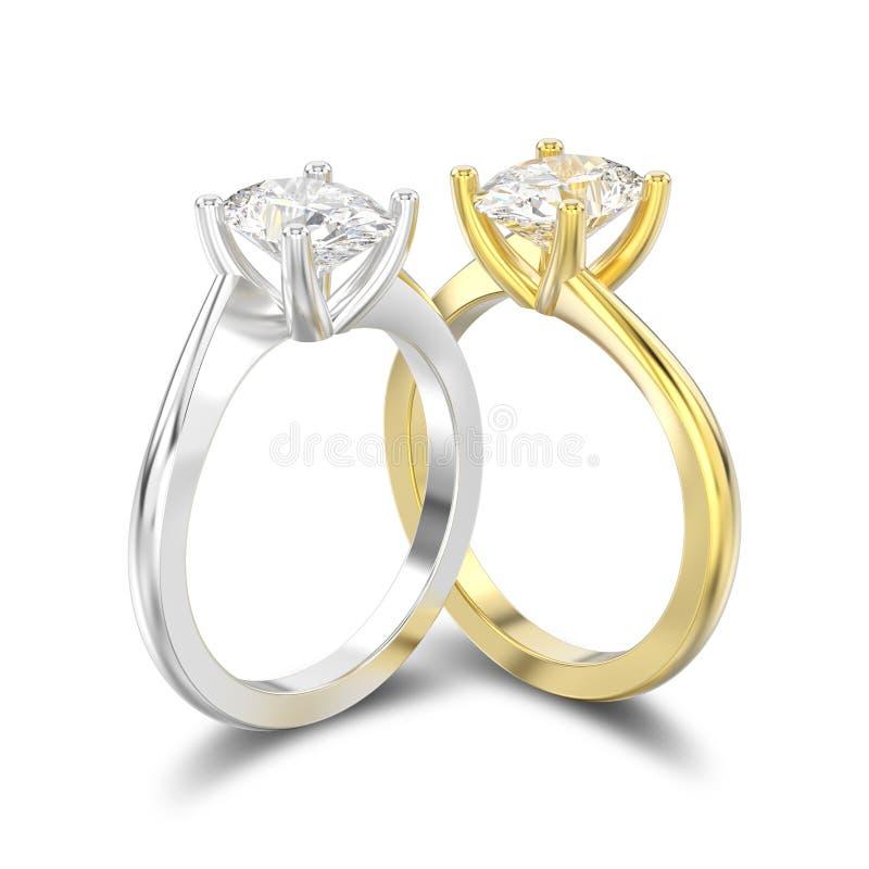 l'illustration 3D a isolé deux jaunes et anglais d'or blanc ou d'argent illustration de vecteur