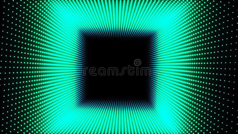 l'illustration 3d, les points verts a aligné dans les lignes qu'elle a été remontée jusqu'à ce que c'ait été un tuyau carré illustration libre de droits