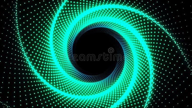 l'illustration 3d, les points verts a aligné dans les lignes qu'elle a été remontée jusqu'à ce que c'ait été un tuyau de pantagon illustration de vecteur