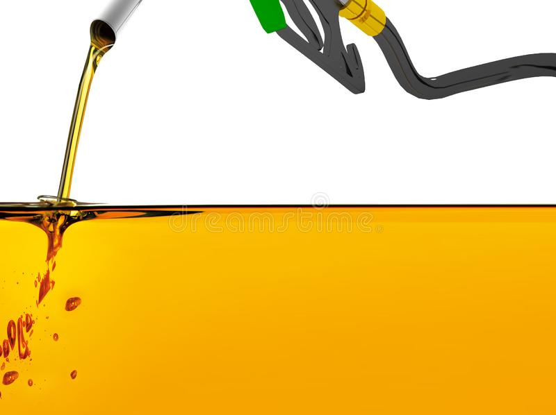 l'illustration 3D, ?quipent l'essence d'un gicleur de pompage dans un r?servoir, d'essence se renversante de gicleur d'essence au illustration de vecteur
