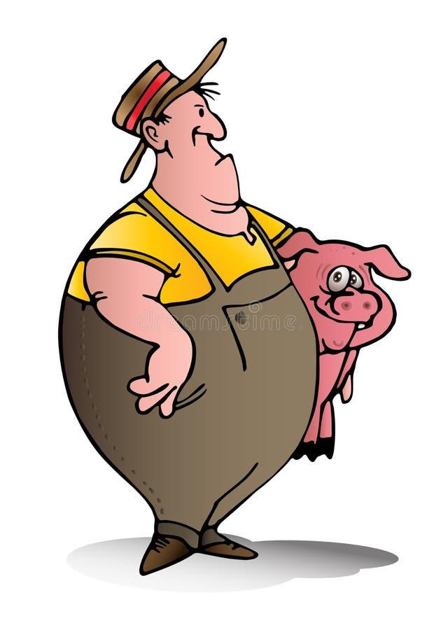 L'éleveur de porcs portent le porc rose illustration libre de droits