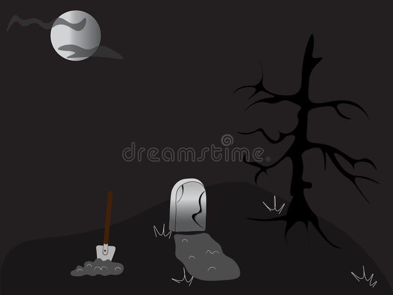 L'illustration d'un cimetière Tombe, pelle, pierre tombale, lune et arbre noir illustration stock