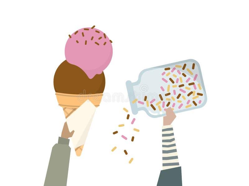 L'illustration d'un cornet de crème glacée avec l'arc-en-ciel arrose illustration libre de droits