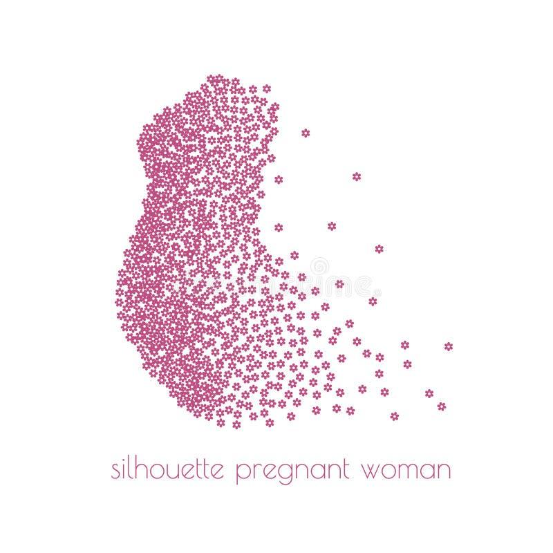 L'illustration d'une silhouette de femme enceinte avec la dispersion fleurit Illustration de vecteur illustration stock