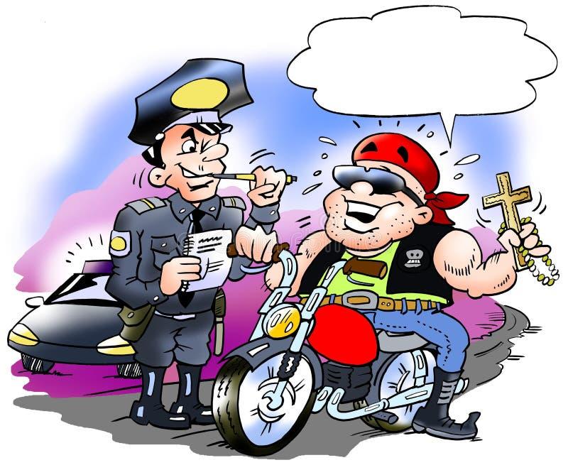 L'illustration de bande dessinée d'un cycliste heureux là doit avoir une contravention pour excès de vitesse illustration libre de droits