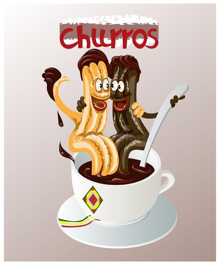L'illustration de bande dessinée de la pâtisserie espagnole traditionnelle a appelé des churros illustration libre de droits