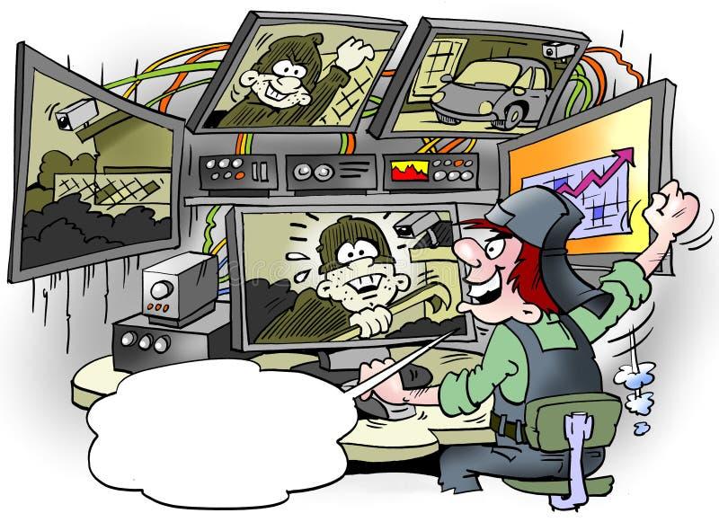 L'illustration de bande dessinée du voleur de voiture d'A a été découverte dans une installation géante de surveillance illustration de vecteur