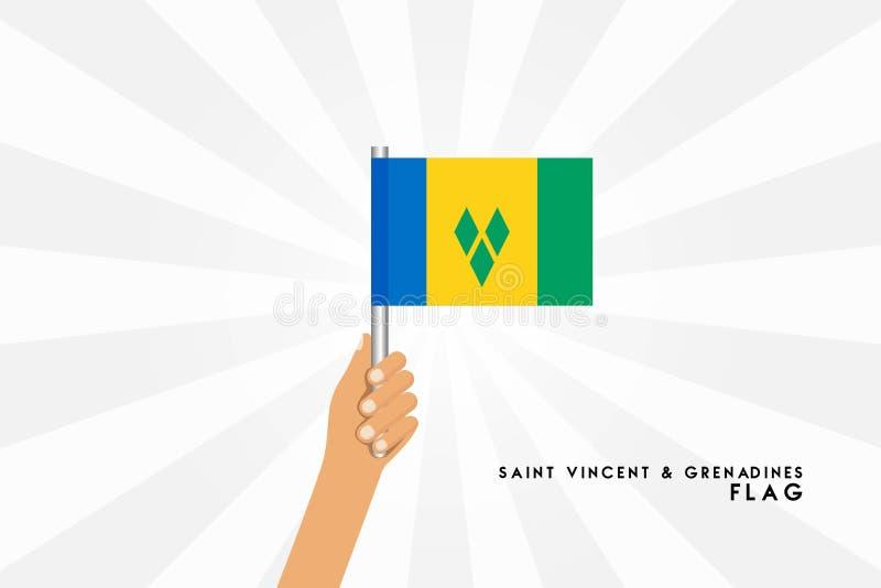 L'illustration de bande dessinée de vecteur des mains humaines tiennent le drapeau du Saint-Vincent-et-les Grenadines illustration libre de droits