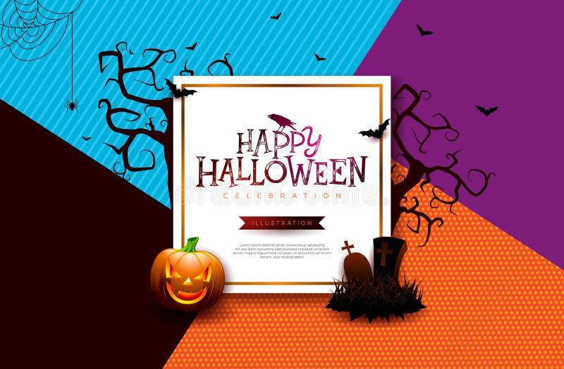 L'illustration de bannière de vente de Halloween avec le potiron, l'araignée, le cimetière et le vol manie la batte sur le fond c illustration libre de droits