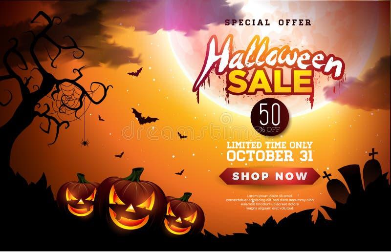 L'illustration de bannière de vente de Halloween avec les potirons, la lune et le vol manie la batte sur le fond orange de ciel n illustration de vecteur