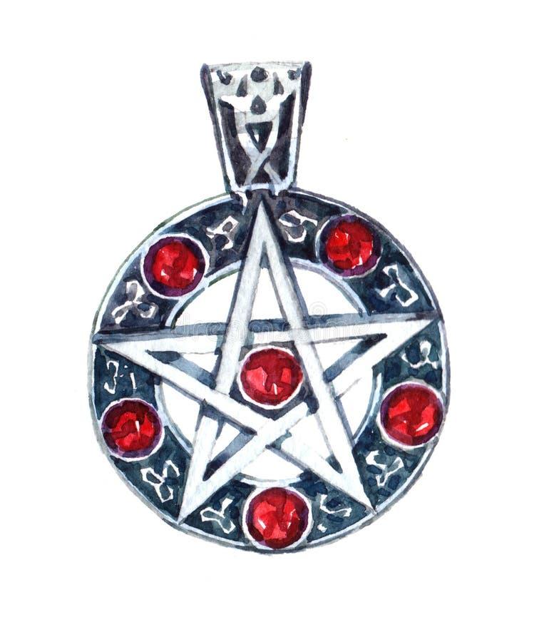 L'illustration de bijoux d'amulette d'aquarelle a isolé illustration stock