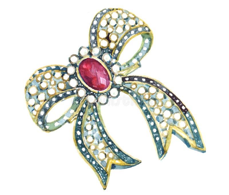 L'illustration de broche de bijoux d'aquarelle a isolé illustration stock