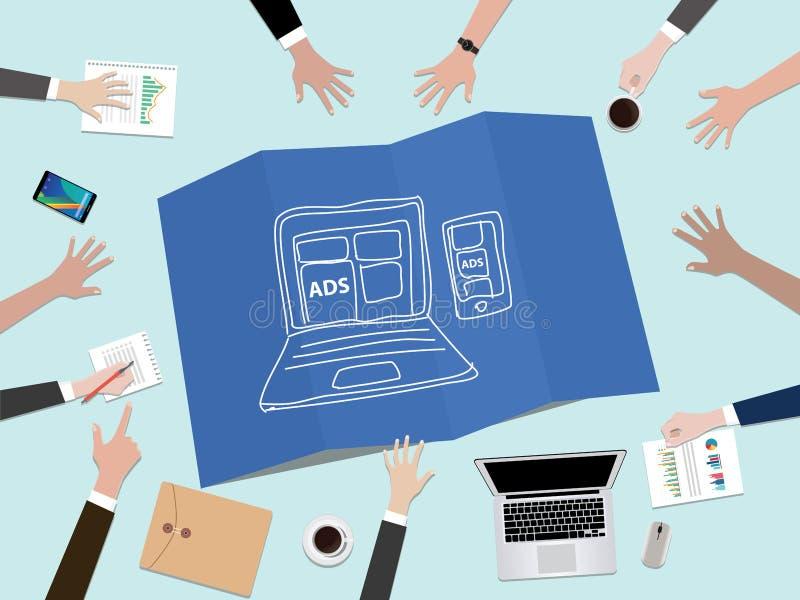 L'illustration de concept de placement d'annonces avec l'équipe de main fonctionnent ensemble sur la table illustration de vecteur