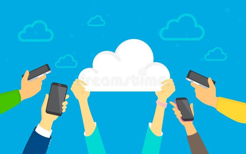 L'illustration de concept de téléchargement de nuage du nuage humain plat de prise de mains se connectent le fond bleu illustration libre de droits