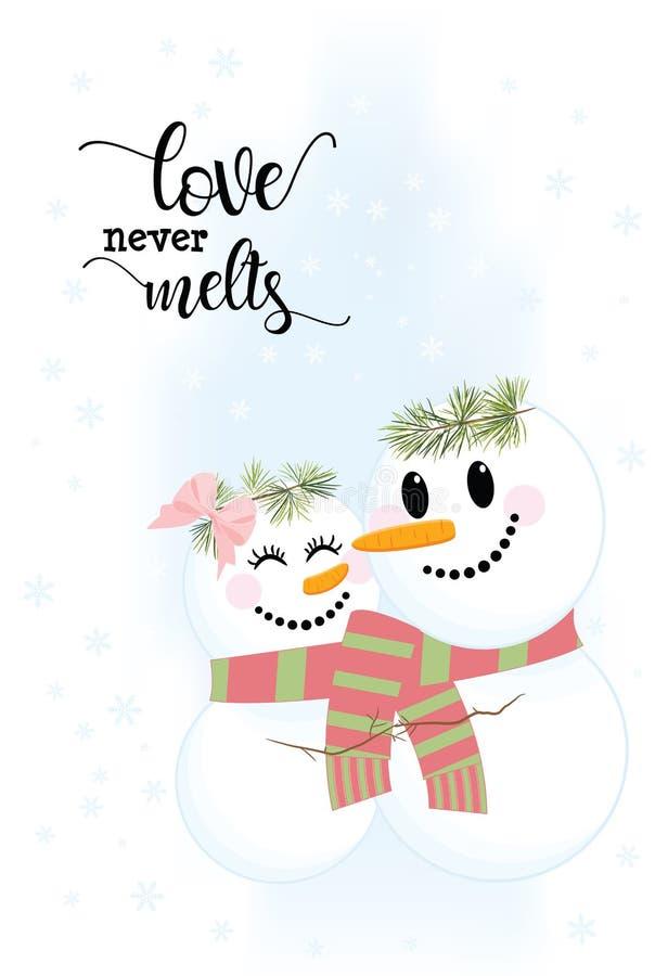 L'illustration de deux bonhommes de neige mignons n'aiment jamais des fontes illustration libre de droits