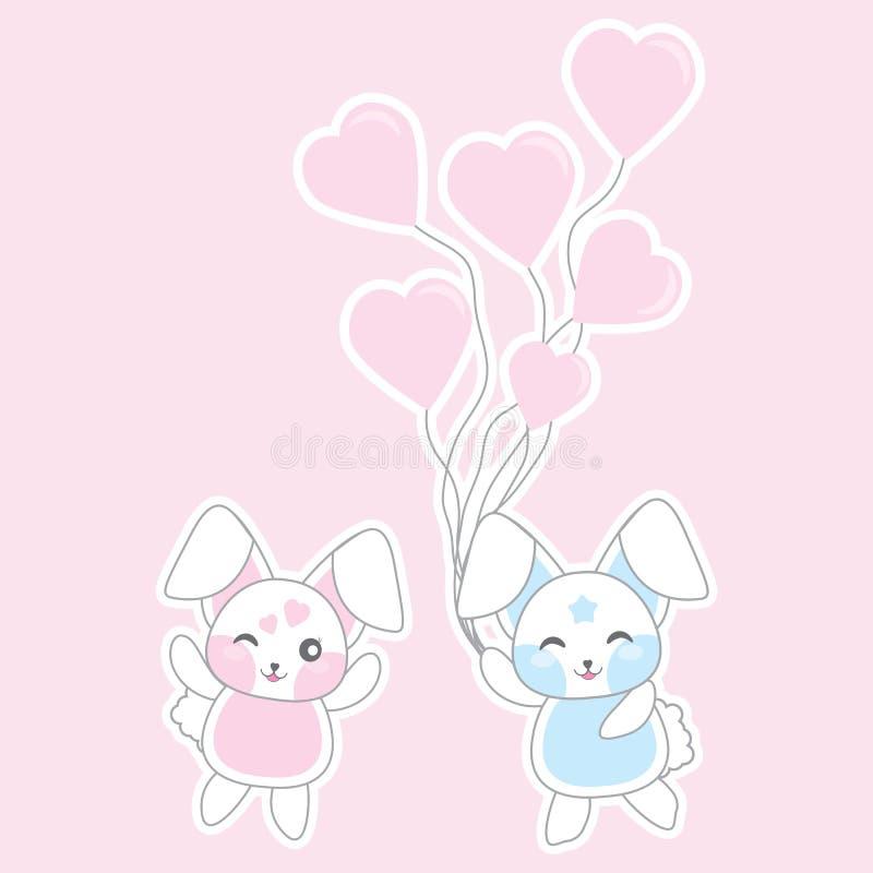 L'illustration de jour du ` s de Valentine avec les lapins mignons apportent des ballons d'amour sur le fond rose illustration stock