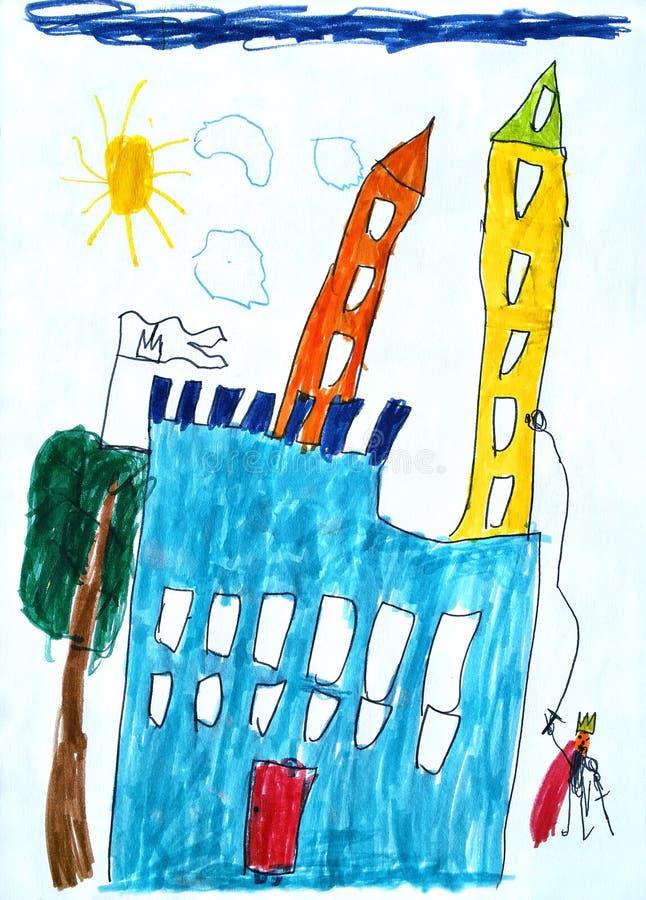 L'illustration de l'enfant du château de conte de fées. illustration de vecteur