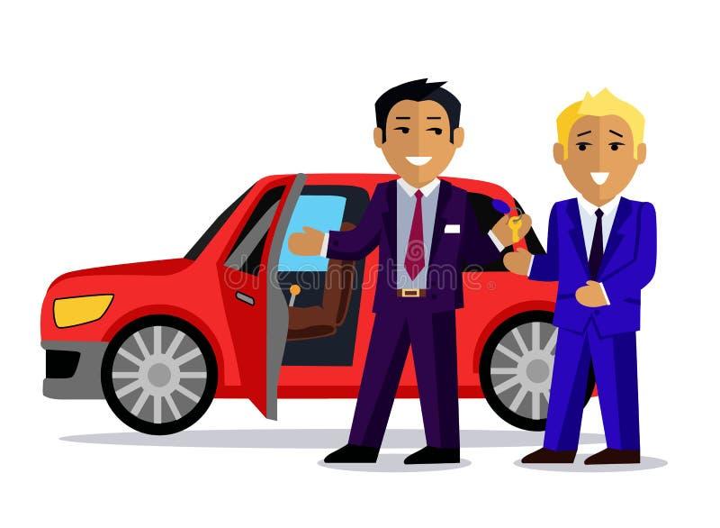 L'illustration de l'homme achète une nouvelle voiture illustration libre de droits