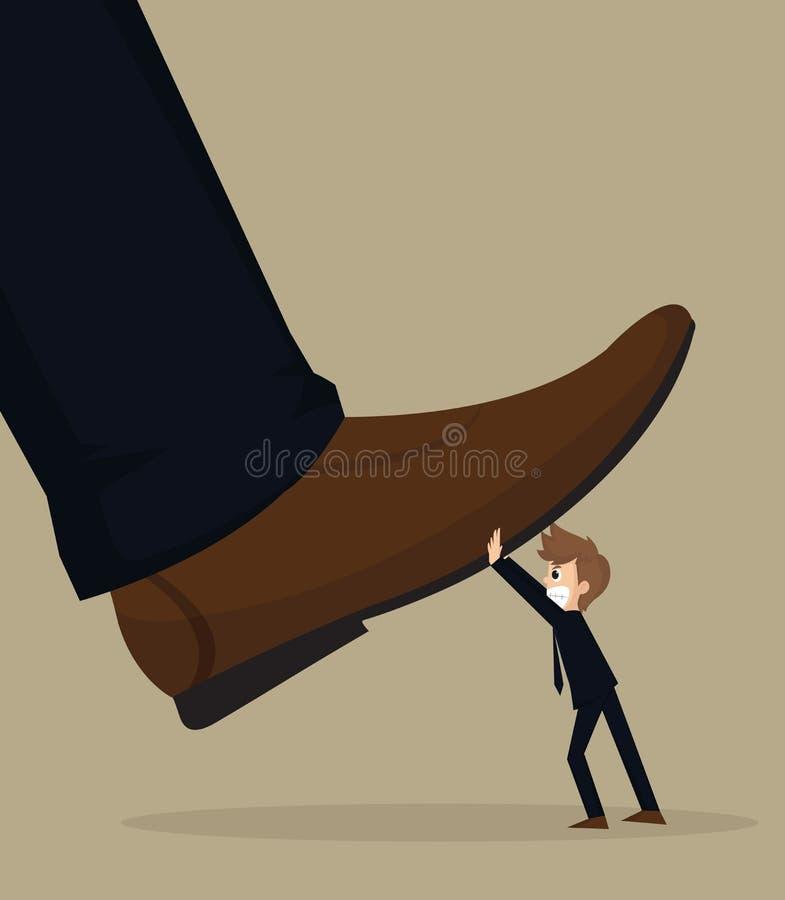 L'illustration de l'homme d'affaires de bande dessinée portent le pied de frapper du pied illustration de vecteur