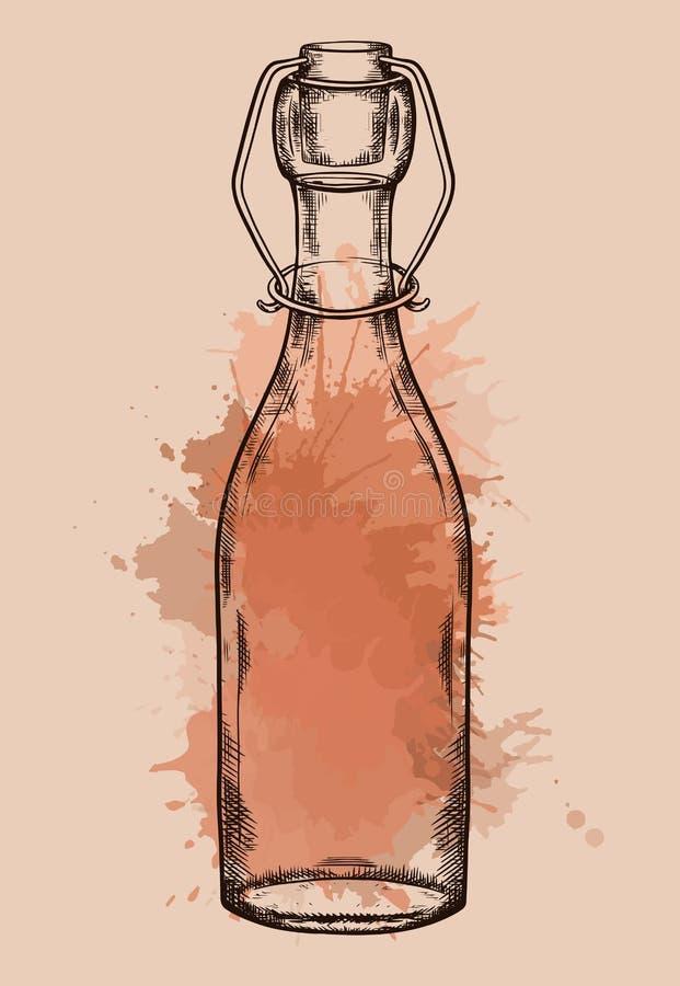 L'illustration de la bouteille en verre de cru hachant avec l'aquarelle éclabousse Objet de rebut nul Vecteur gravant l'élément illustration stock