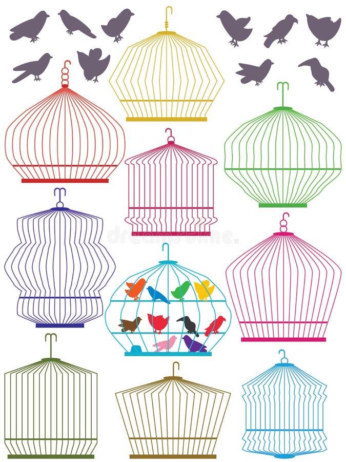 Ensemble coloré de cage à oiseaux illustration de vecteur