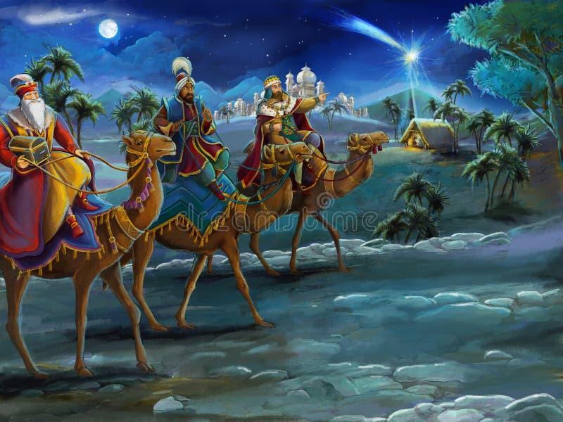 L'illustration de la famille sainte et de trois rois - scène traditionnelle - illustration pour les enfants image stock