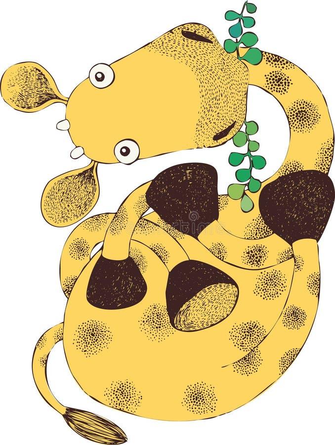 L'illustration de la girafe mignonne mangent des feuilles - vecteur illustration de vecteur
