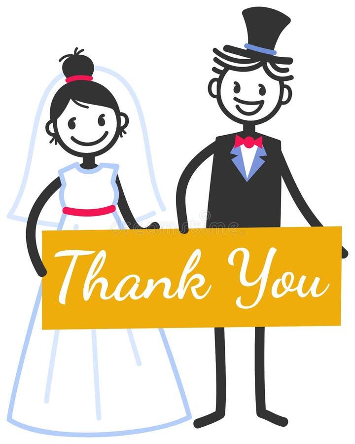 L'illustration de mariage de vecteur des chiffres mignons couples nuptiales de bâton tenant le signe jaune vous remercient, épous illustration stock