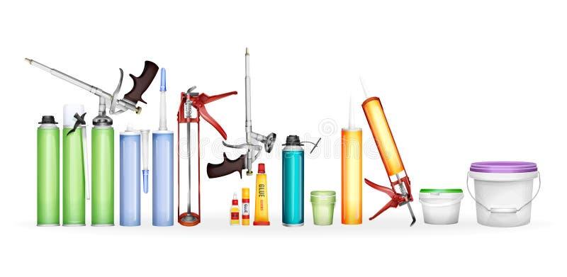 L'illustration de mousse de construction, de mastic de silicone, de colle et de peinture des bouteilles 3D et de la maquette réal illustration libre de droits