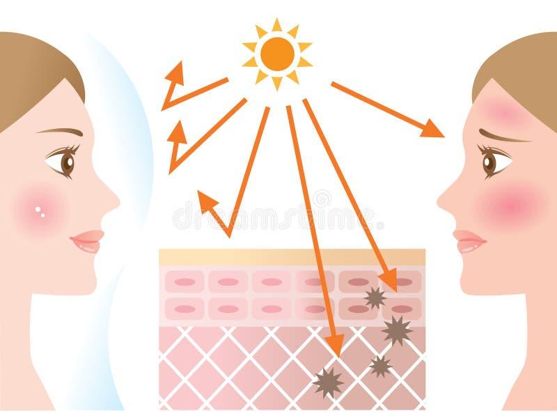 L'illustration de peau d'Infographic de la protection solaire protègent la peau contre les rayons UV Concept de soins de la peau  illustration libre de droits